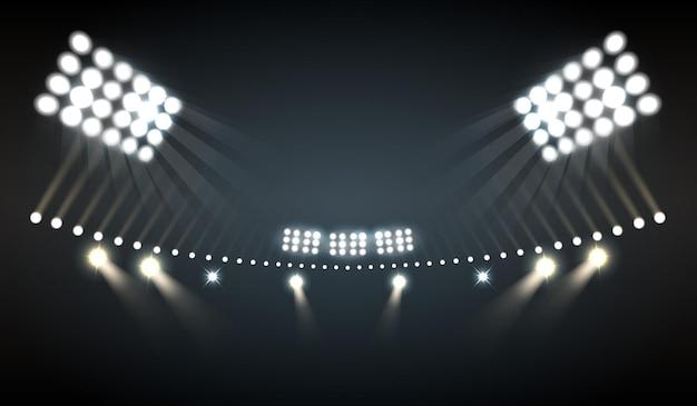 Luces del estadio realistas con símbolos deportivos y tecnológicos.