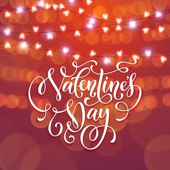 Luces de guirnalda de corazón de san valentín para fondo de tarjeta roja premium