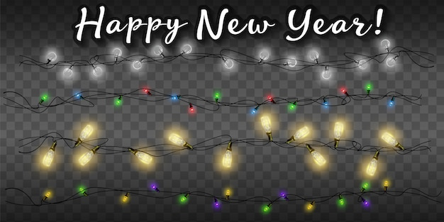 Luces de hadas de navidad aisladas realistas 2020 para decoración de plantillas