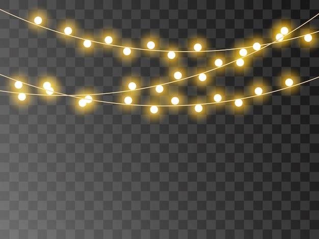 Luces de navidad aisladas, guirnalda realista
