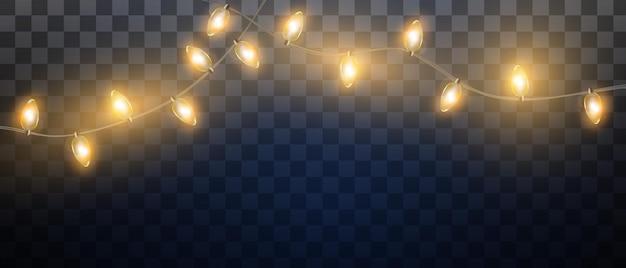 Luces de navidad aisladas sobre fondo transparente garland para carteles de banner de tarjeta de año nuevo