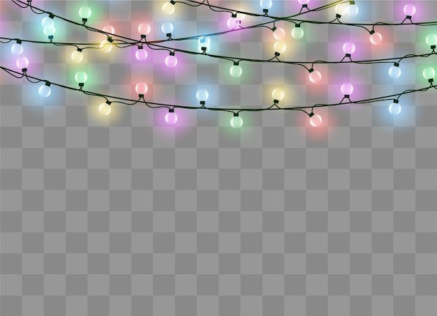 Luces de navidad aisladas sobre fondo transparente. guirnalda brillante de navidad.