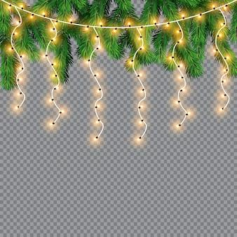 Luces de navidad, aisladas sobre un fondo transparente. guirnalda de navidad brillante. luces blancas translúcidas de decoración de año nuevo. lámpara led de neón. luces luminosas para vacaciones de navidad
