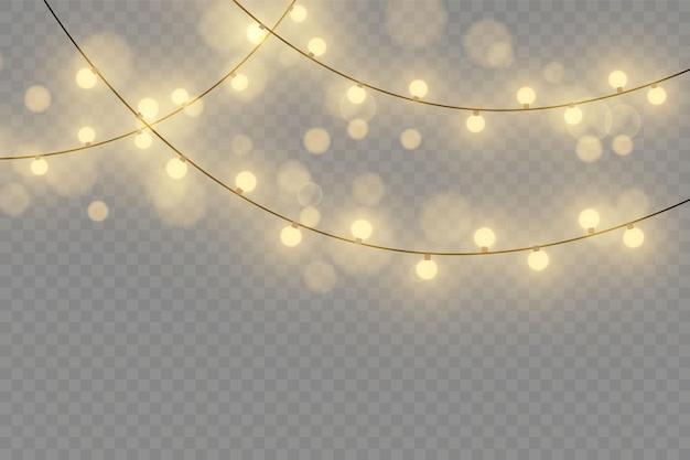Luces de navidad aisladas sobre fondo transparente. ilustración vectorial.