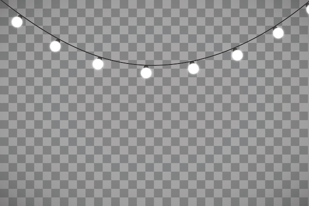 Luces de navidad aisladas sobre fondo transparente
