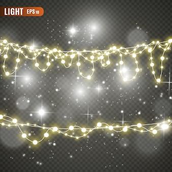 Luces de navidad aisladas sobre fondo transparente.