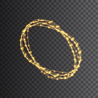 Las luces de navidad aislaron elementos de diseño realista. luces brillantes para vacaciones de navidad