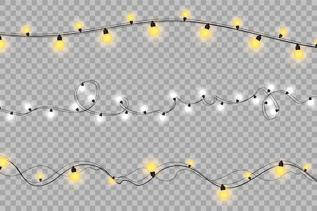 Las luces de navidad aislaron elementos de diseño realista.