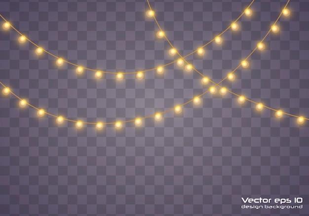 Luces de navidad amarillas aisladas elementos de diseño realista.luces de navidad aisladas sobre fondo transparente. guirnalda brillante de navidad. ilustración.