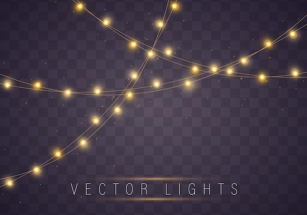 Luces de navidad amarillas aislaron elementos realistas.