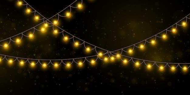 Luces de navidad amarillas elementos realistas aislados.