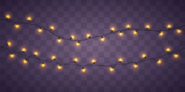 Luces de navidad amarillas. guirnalda brillante de navidad.