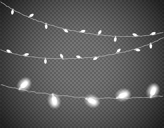 Luces de navidad blancas aisladas en transparente