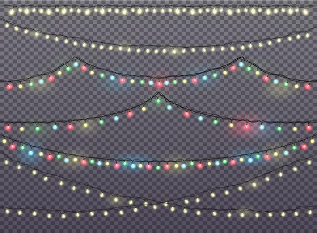 Luces de navidad. conjunto grande de guirnaldas.