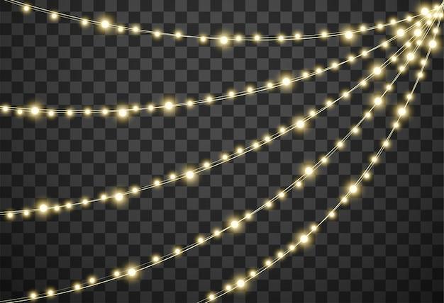 Luces de navidad en fondo transparente