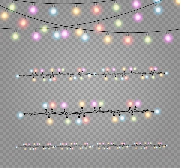 Luces de navidad . guirnalda brillante de navidad.