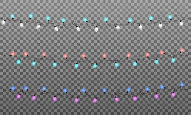 Luces de navidad. guirnalda de luces multicolores realistas para año nuevo y navidad