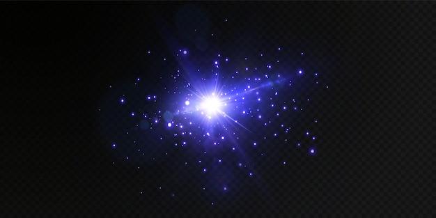 Luces de neón azul en transparente