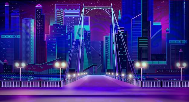 Luces de neón de la ciudad de noche, entrada de puente, muelle, lámparas.