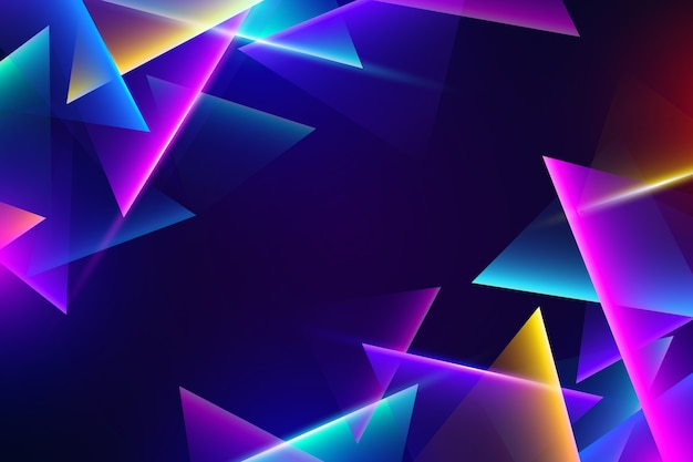 Luces de neón de colores sobre fondo oscuro