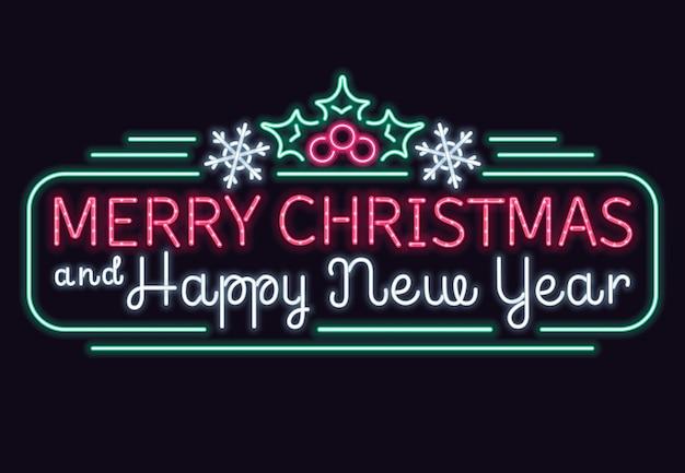 Luces de neón feliz navidad y feliz año nuevo vector signo