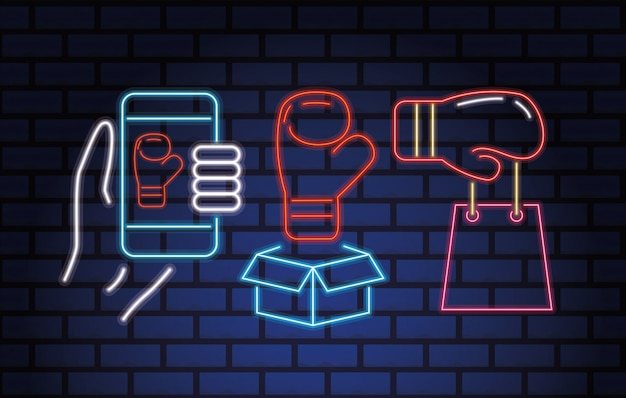 Luces de neón de la venta del día del boxeo con el diseño del ejemplo del vector de los iconos del sistema