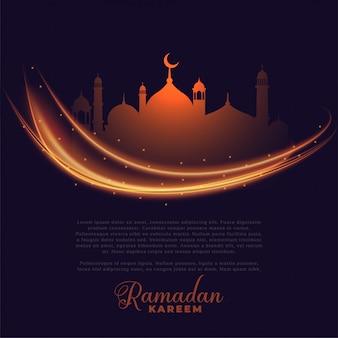 Luces que brillan intensamente de ramadan kareem que saludan diseño