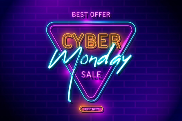 Luces retro neón cyber monday