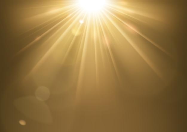 Luces del sol que brillan con fondo de destello de lente