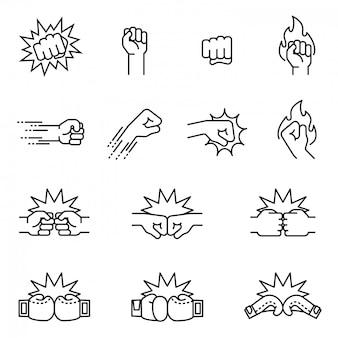 Lucha, concepto de conjunto de icono de golpe de puño. vector de stock de estilo de línea fina.