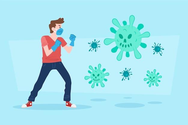 Lucha contra el concepto de virus con máscara