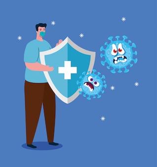 Lucha contra el coronavirus, hombre con máscara médica, emoji con expresión facial y protección de escudo