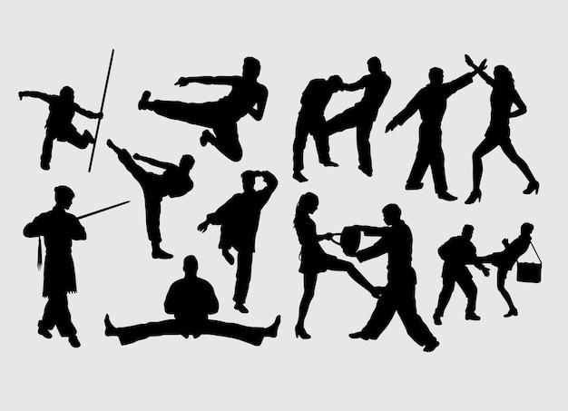 Lucha contra el gesto del arte marcial deporte silueta.
