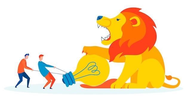 La lucha contra el miedo metáfora ilustración plana