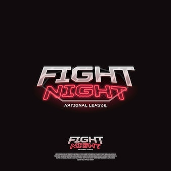 Lucha contra el signo de la noche. logotipo de deporte de neón moderno.