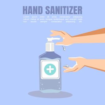 Lucha contra el virus corona, desinfectante de manos, desinfecta las manos con el concepto de gel desinfectante en un diseño plano.