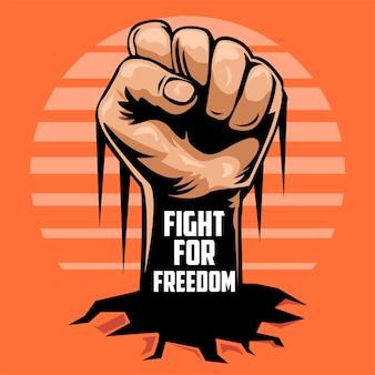 Lucha por la libertad con la ilustración del puño