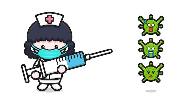 Lucha linda del carácter de la mascota de la enfermera contra el ejemplo del icono del vector de la historieta del virus. diseño aislado en blanco. estilo de dibujos animados plana.