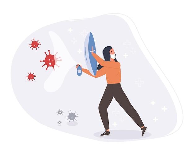 Lucha y protege el concepto de coronavirus. el personal médico lucha contra el escudo protector con la pandemia.