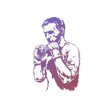 Luchador en guantes de lucha