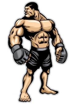 Luchador muscular grande y pesado