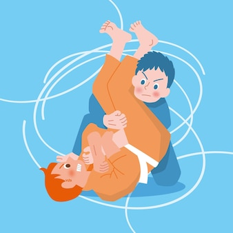 Luchadores de jiu-jitsu de personajes naranjas y azules
