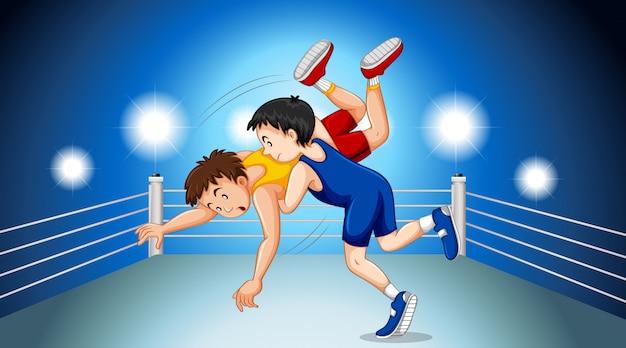 Luchadores luchando en el ring de lucha