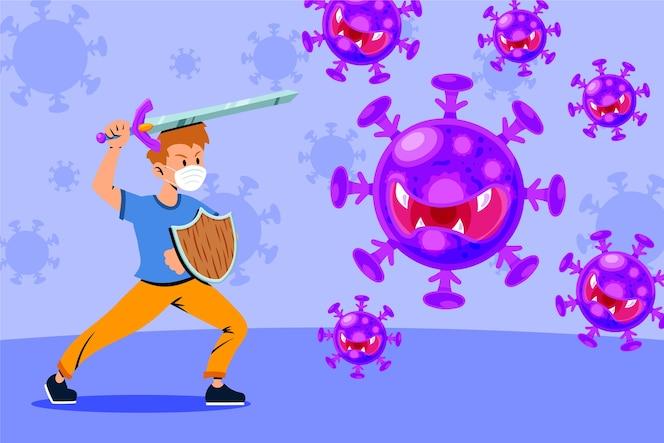 Luchar contra el concepto de ilustración de virus
