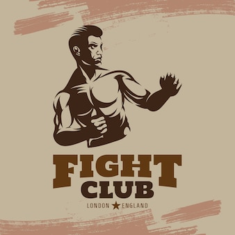 Luchas del club de boxeo. etiqueta del emblema de boxeo