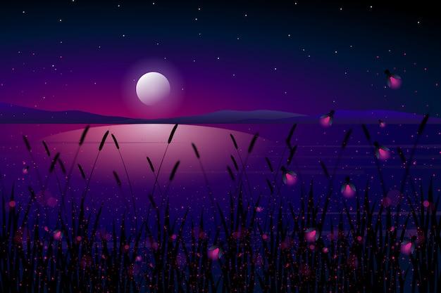 Luciérnaga en el mar con noche estrellada y colorida ilustración de paisaje de cielo