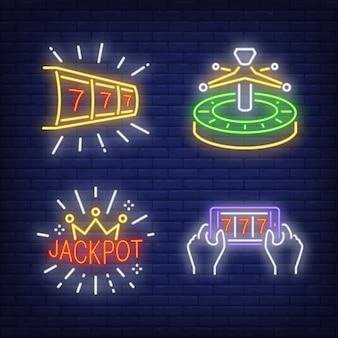 Lucky siete, ruleta y jackpot letreros de neón establecidos