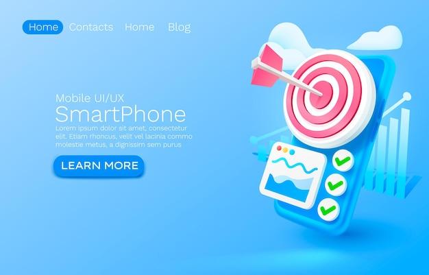 Lugar de concepto de banner de análisis de destino de smartphone para vector de servicio móvil de aplicación en línea de texto