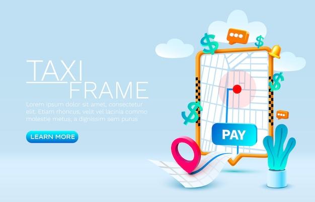 Lugar de concepto de banner de taxi de llamada de teléfono inteligente para vector de servicio de taxi de aplicación en línea de texto