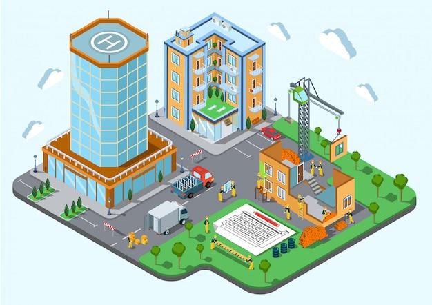 Lugar de construcción en la ilustración isométrica del concepto de la ciudad los constructores con el plan de arquitectura de la grúa construyen un edificio público inacabado.